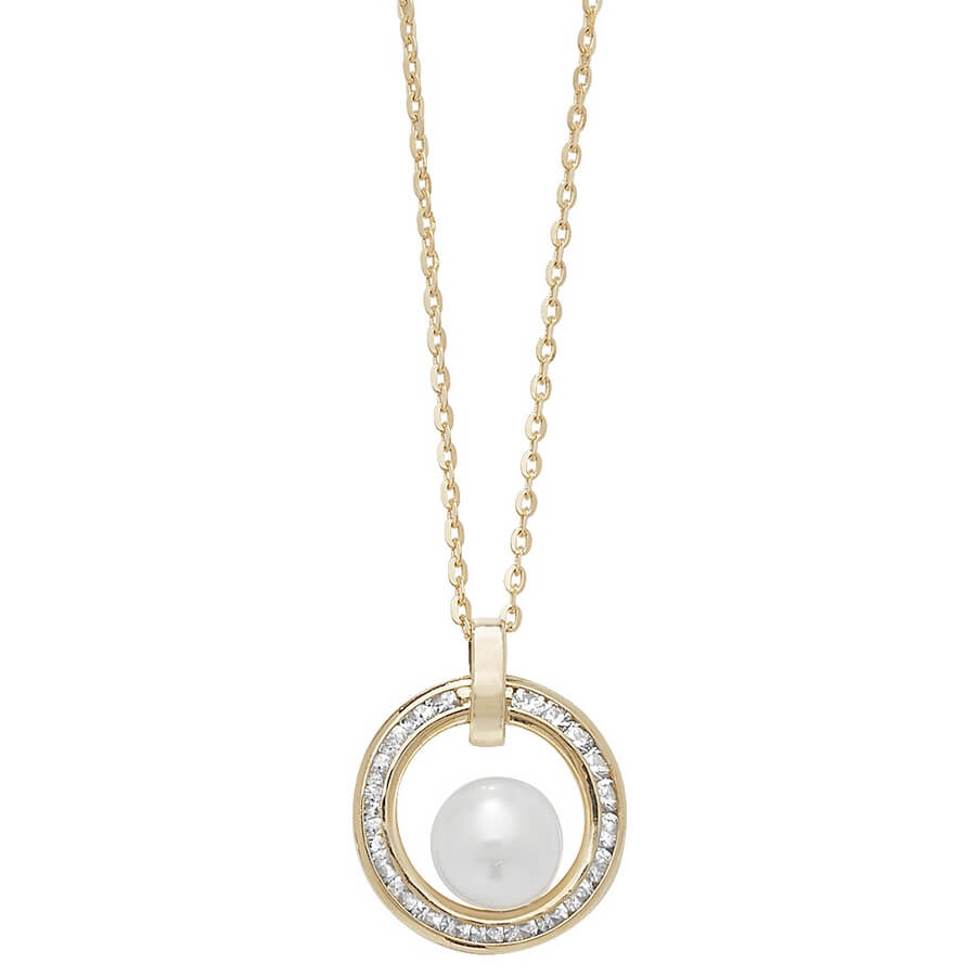 Cubic Zirconia set 18 inch 9ct Yellow Gold Circle and Simulated Pearl Necklace