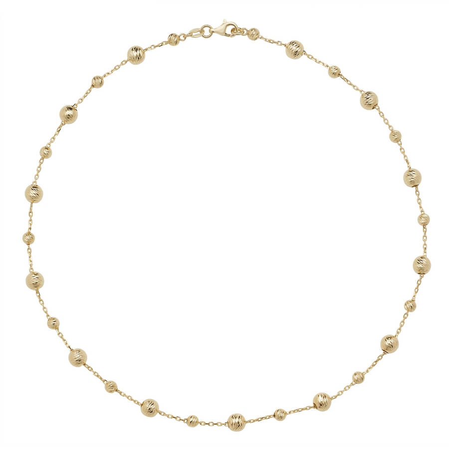 9ct Yellow Gold Bead Necklace 16 inches Long