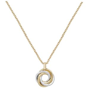 Swirl Necklace in 9ct Yellow and White Gold 16 plus 1 inch Long