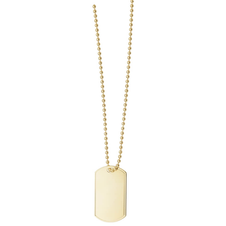 9ct Yellow Gold Single Dog Tag and Chain 24 inches Long
