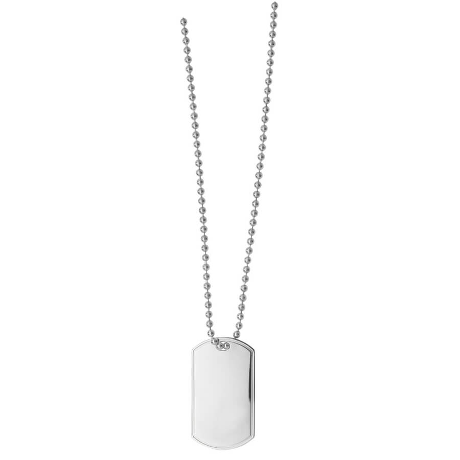 9ct White Gold Single Dog Tag and Chain 24 inches Long