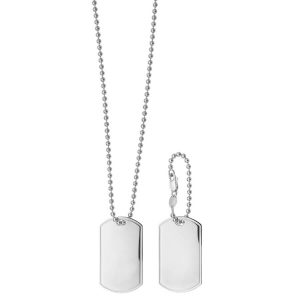 9ct White Gold Twin Dog Tag and Chain 24 inches Long