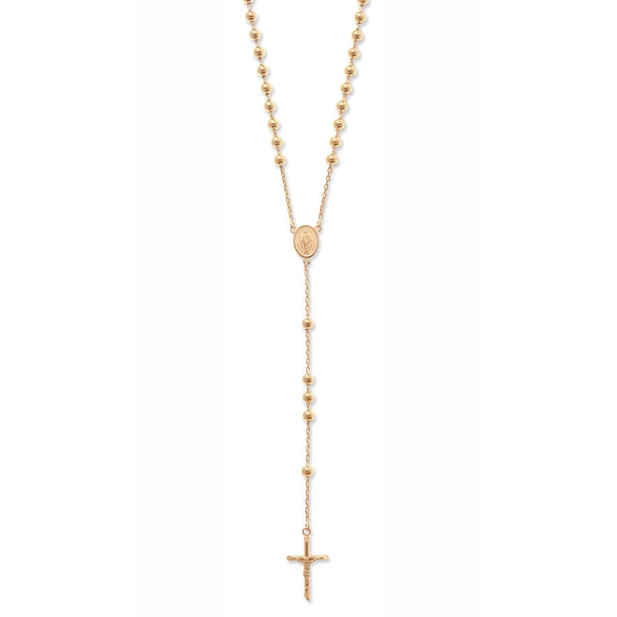 9ct Yellow Gold 24 plus 5.5 inch Rosary Necklace