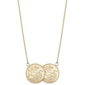 9ct Yellow Gold 17 inch Coin Necklace