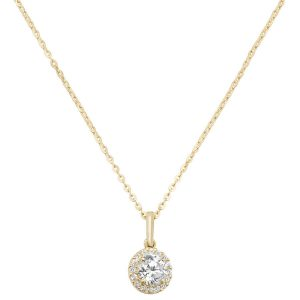Round Cubic Zirconia 16 plus 2 inch Pendant Necklace in 9ct Yellow Gold