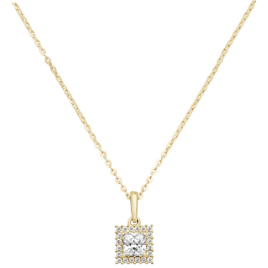 Square Cubic Zirconia 16 plus 2 inch Pendant Necklace in 9ct Yellow Gold
