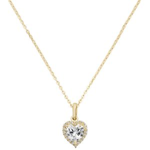 Heart Cubic Zirconia 16 plus 2 inch Pendant Necklace in 9ct Yellow Gold