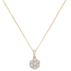 Cluster Cubic Zirconia 16 plus 2 inch Pendant Necklace in 9ct Yellow Gold