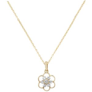 Flower Design Cubic Zirconia 16 plus 2 inch Pendant Necklace in 9ct Yellow Gold