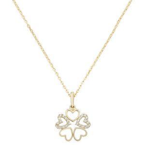 Multi-Heart Cubic Zirconia 16 plus 2 inch Pendant Necklace in 9ct Yellow Gold