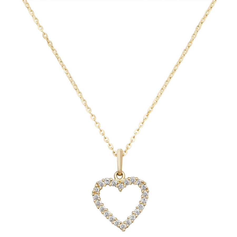 Open Heart Cubic Zirconia 16 plus 2 inch Pendant Necklace in 9ct Yellow Gold