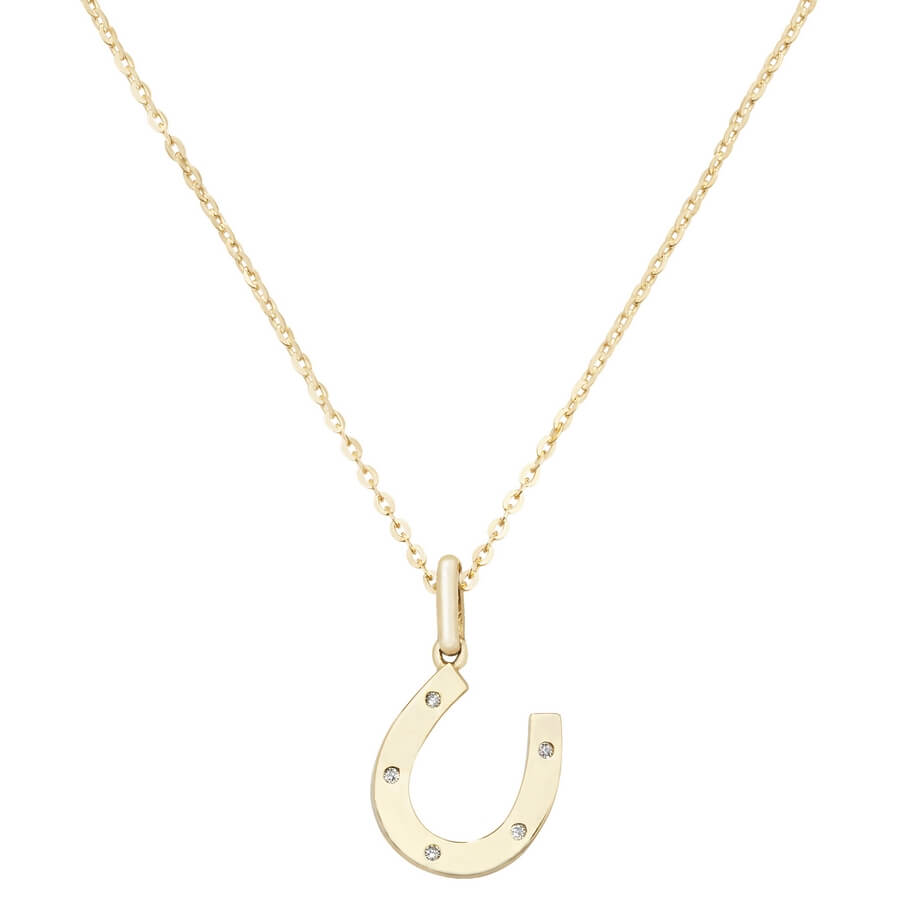 Horse Shoe Cubic Zirconia 16 plus 2 inch Pendant Necklace in 9ct Yellow Gold