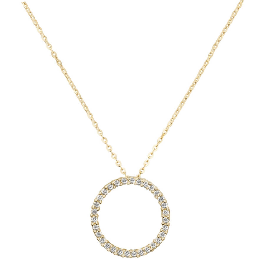 Circle Cubic Zirconia 16 plus 2 inch Pendant Necklace in 9ct Yellow Gold