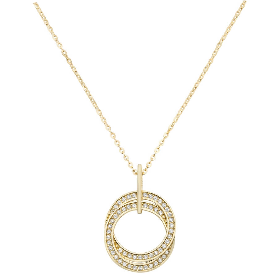 Tri-Colour Interlocking Rings Necklace in 9ct Yellow Gold