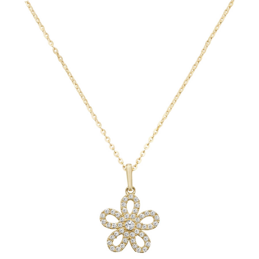 Daisy Cubic Zirconia 16 plus 2 inch Pendant Necklace in 9ct Yellow Gold