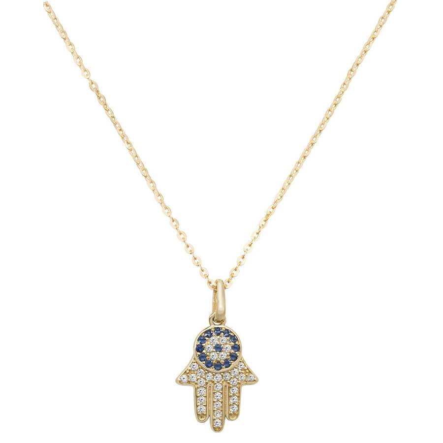 Hamsa Cubic Zirconia 16 plus 2 inch Pendant Necklace in 9ct Yellow Gold