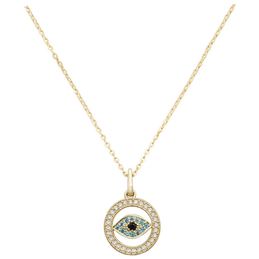Evil Eye Cubic Zirconia 16 plus 2 inch Pendant Necklace in 9ct Yellow Gold
