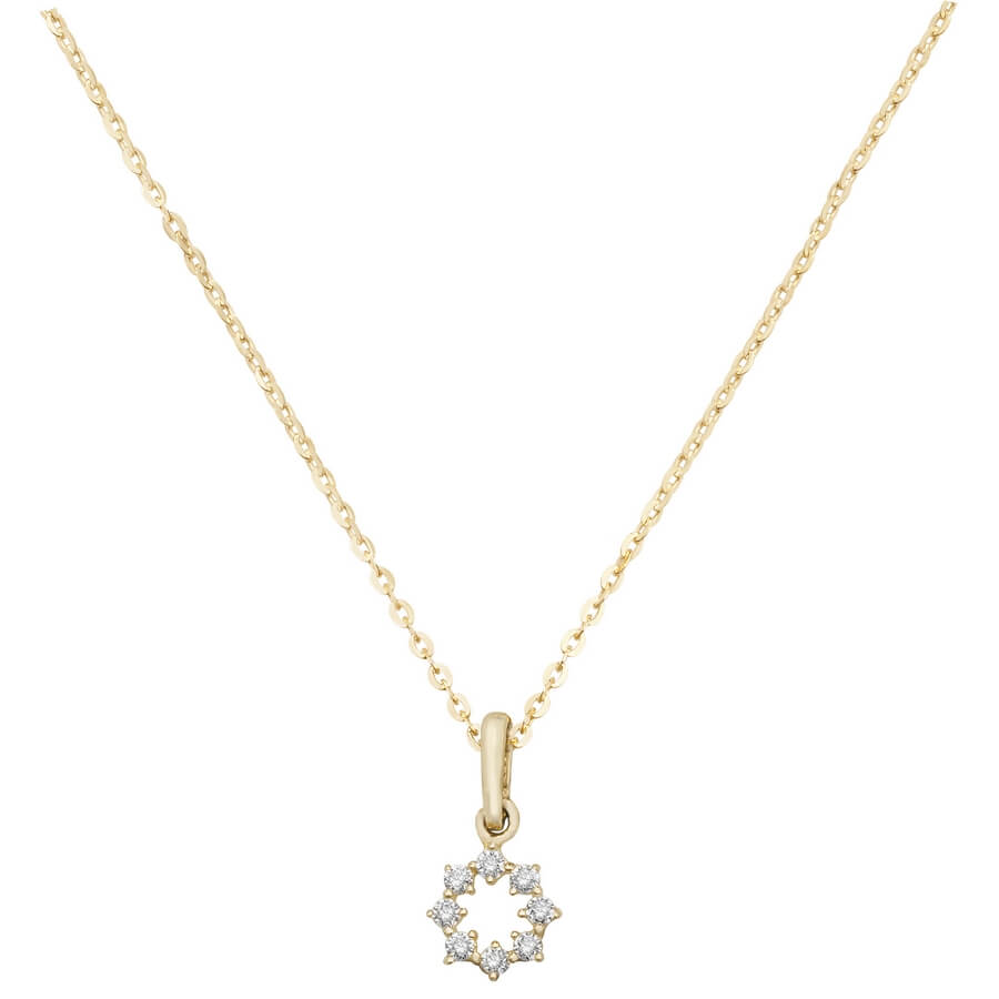 Star Cubic Zirconia 16 plus 2 inch Pendant Necklace in 9ct Yellow Gold