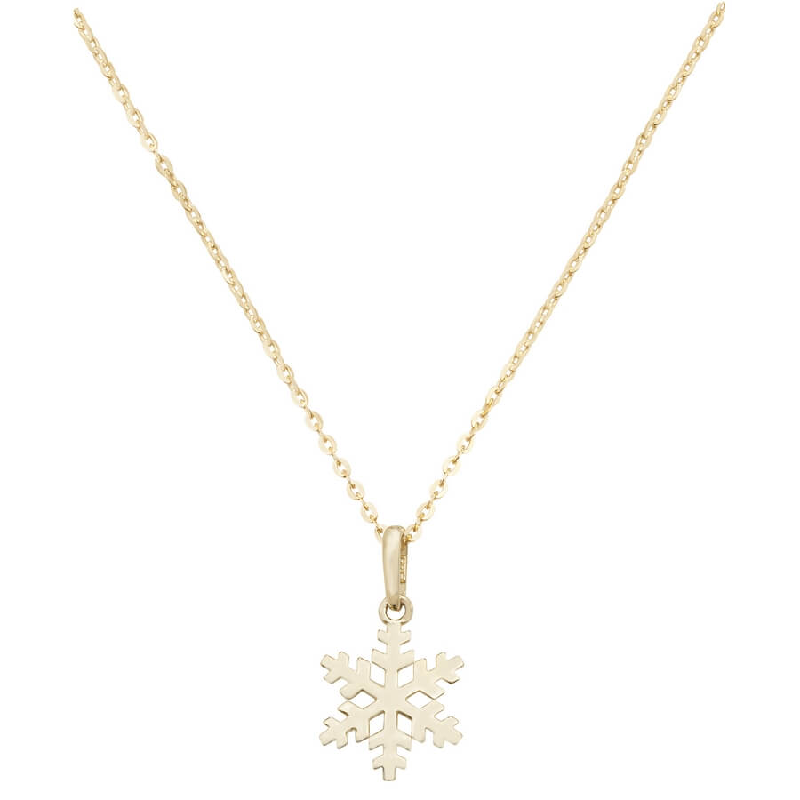Snow Flake 16 plus 2 inch Pendant Necklace in 9ct Yellow Gold