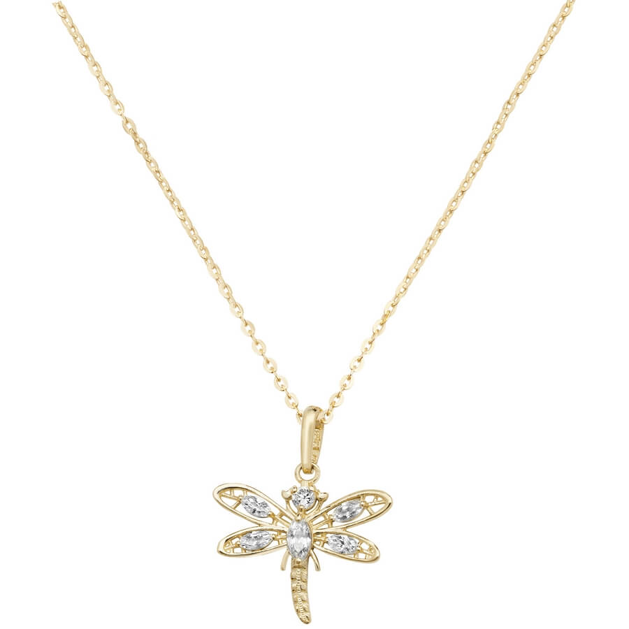 Dragonfly Cubic Zirconia 16 plus 2 inch Pendant Necklace in 9ct Yellow Gold