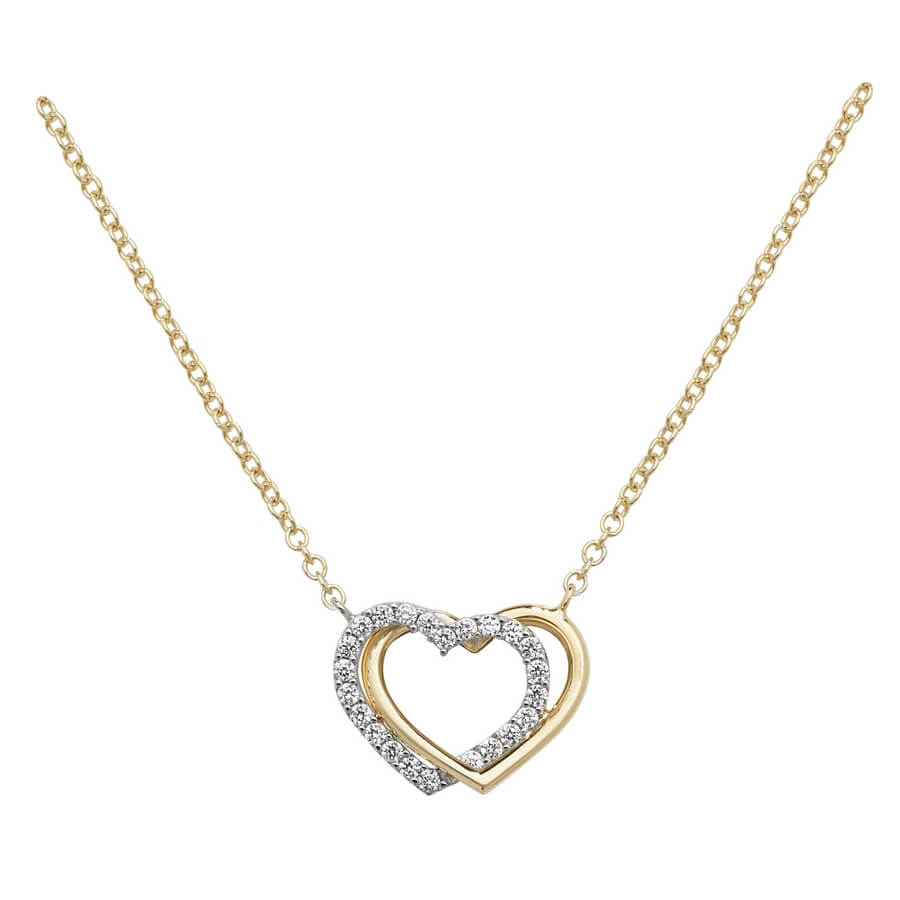 Inter-locking Heart Cubic Zirconia 16 plus 2 inch Pendant Necklace in 9ct Yellow Gold