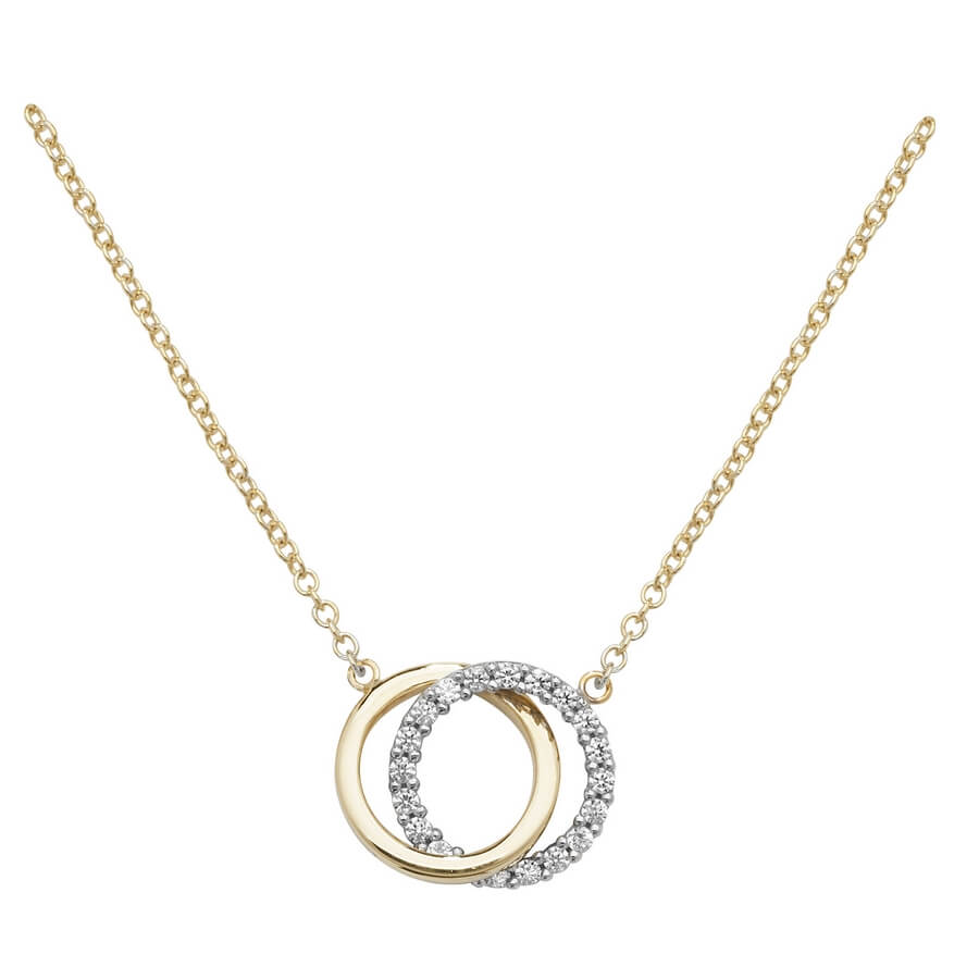 Interlocking Circles Necklace in 9ct Yellow Gold