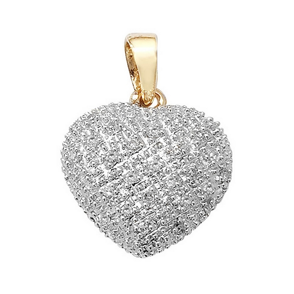 Pave Set Diamond Heart Pendant in 9ct Yellow Gold (0.11ct)