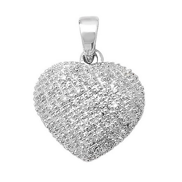 Pave Set Diamond Heart Pendant in 9ct White Gold (0.11ct)