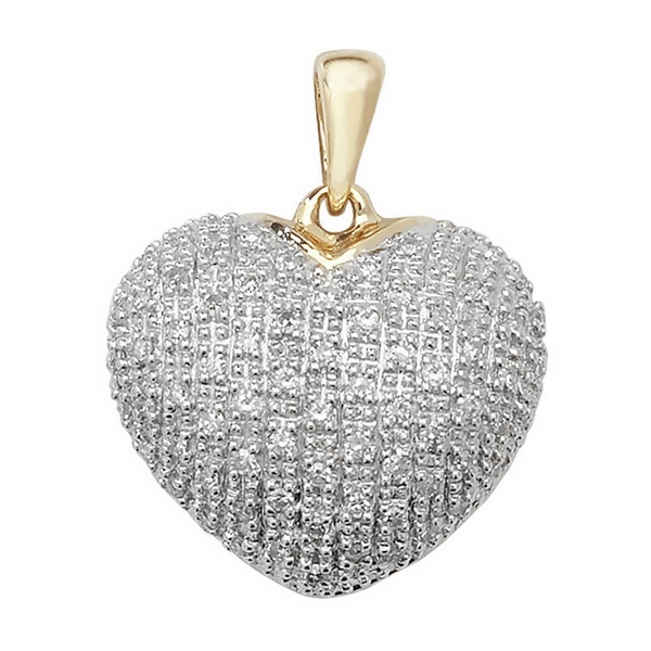 Pave Set Diamond Heart Pendant in 9ct Yellow Gold (0.25ct)