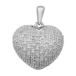 Pave Set Diamond Heart Pendant in 9ct White Gold (0.25ct)