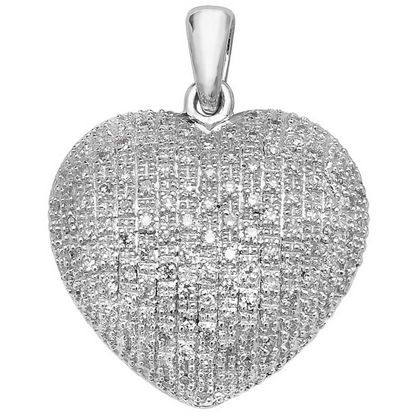 Pave Set Diamond Heart Pendant in 9ct White Gold (0.45ct)