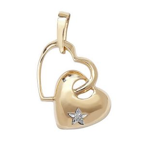 Gold Heart with a Star Set Diamond in 9ct Yellow Gold (0.03ct)