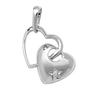 Gold Heart with a Star Set Diamond in 9ct White Gold (0.03ct)