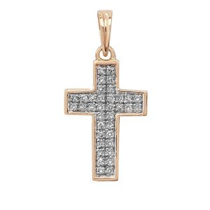 Pave Set Diamond Cross Pendant in 9ct Yellow Gold (0.10ct)