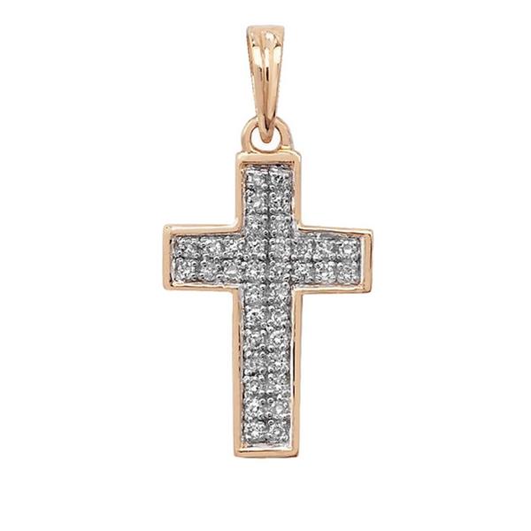 Pave Set Diamond Cross Pendant in 9ct Yellow Gold (0.10ct)