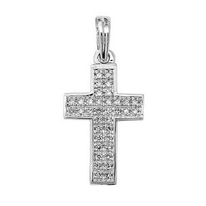 Pave Set Diamond Cross Pendant in 9ct White Gold (0.10ct)