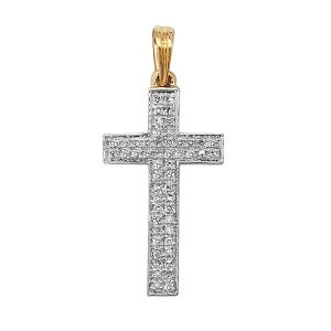 Pave Set Diamond Cross Pendant in 9ct Yellow Gold (0.16ct)
