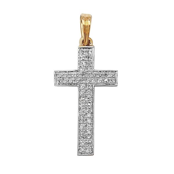 Pave Set Diamond Cross Pendant in 9ct Yellow Gold (0.16ct)