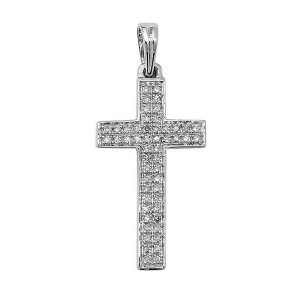 Pave Set Diamond Cross Pendant in 9ct White Gold (0.16ct)