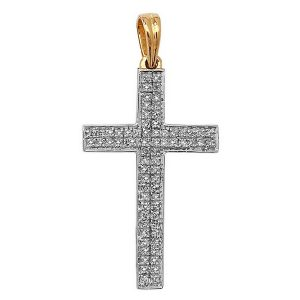 Pave Set Diamond Cross Pendant in 9ct Yellow Gold (0.21ct)
