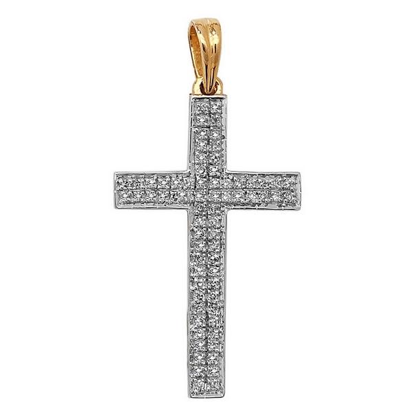 Pave Set Diamond Cross Pendant in 9ct Yellow Gold (0.21ct)