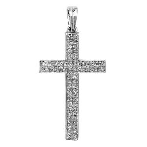 Pave Set Diamond Cross Pendant in 9ct White Gold (0.21ct)