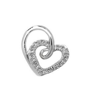 Diamond Heart Pendant in 9ct White Gold