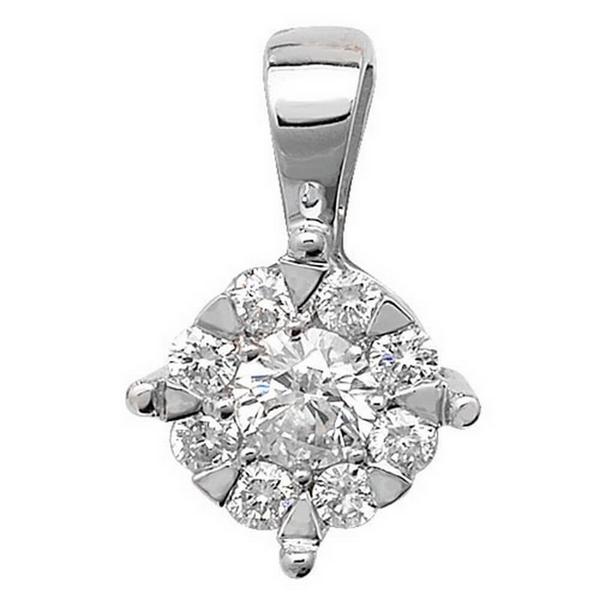 Brilliant Round Diamond Pendant in 9ct White Gold (0.25ct)