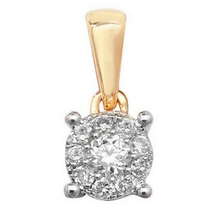 Brilliant Diamond Cluster Pendant in 9ct Yellow Gold (0.10ct)