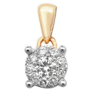 Brilliant Diamond Cluster Pendant in 9ct Yellow Gold (0.15ct)