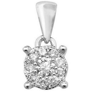 Brilliant Diamond Cluster Pendant in 9ct White Gold (0.15ct)