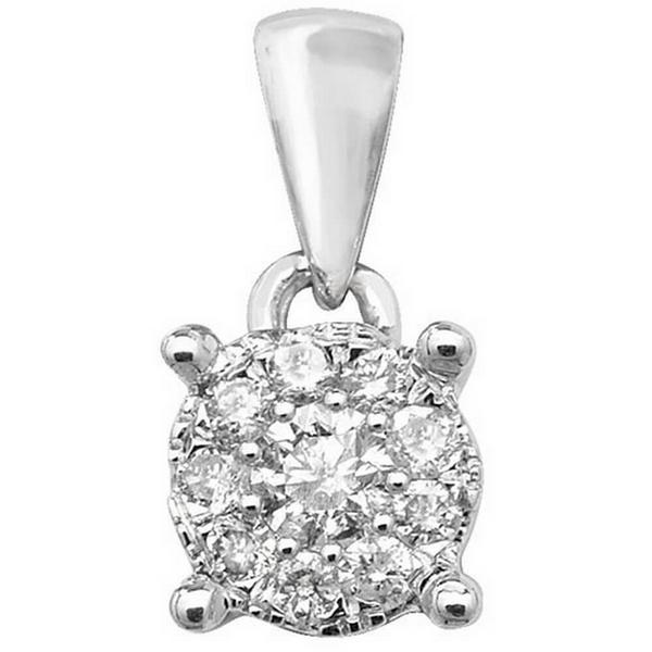 Brilliant Diamond Cluster Pendant in 9ct White Gold (0.15ct)