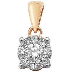 Brilliant Diamond Cluster Pendant in 9ct Yellow Gold (0.20ct)