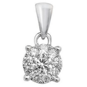 Brilliant Diamond Cluster Pendant in 9ct White Gold (0.20ct)